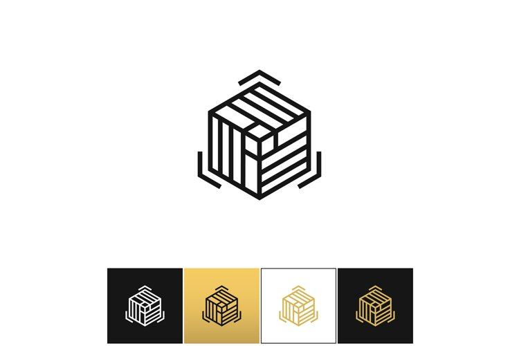 Block or cube 3D structure vector icon example image 1