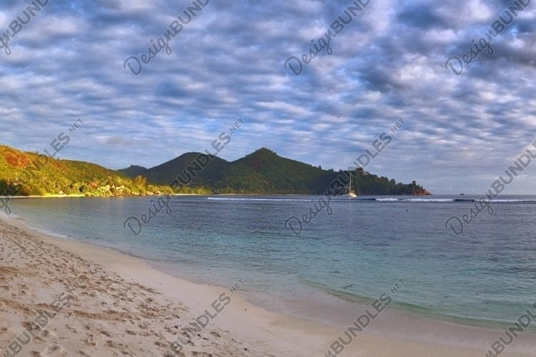 Tropical beach panorama at the Seychelles Islands example image 1