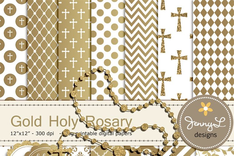 Gold Rosary Baptism Digital Papers and Clipart, First Communion, Confirmation, Christening, Dedication, Religious, Holy Week Scrapbooking, Glitter example image 1