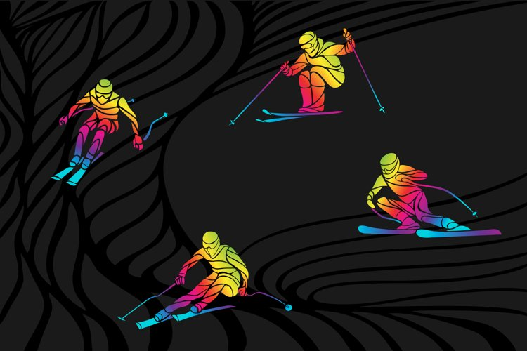 Skier Skiing silhouette collection set clipart vector