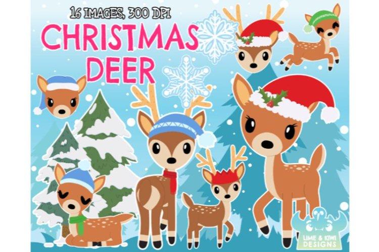 Christmas Deer Clipart - Lime and Kiwi Designs