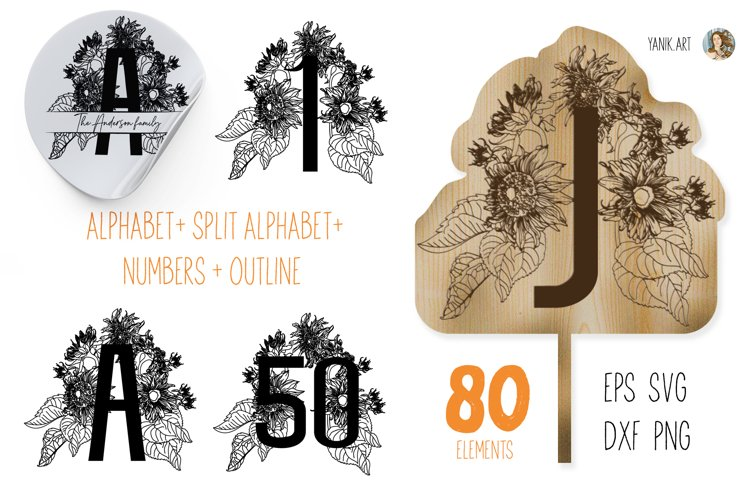 Sunflower Alphabet and sunflower numbers svg, png