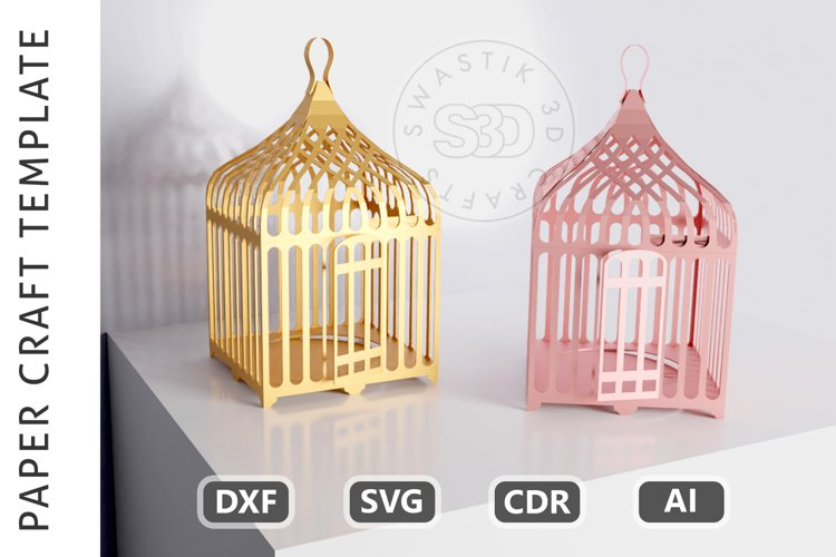 Papercraft Bird Cage / Paper Lamp /DXF Files For laser cut example image 1