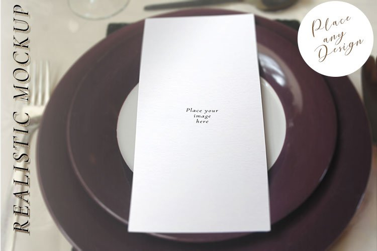 Menu Card Mockup, invitation card mockup plate psd example image 1
