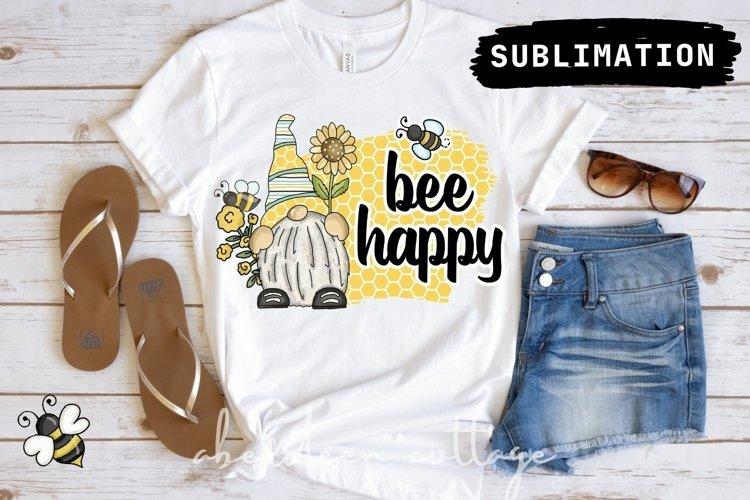 Bee Happy Gnome Sublimation Design