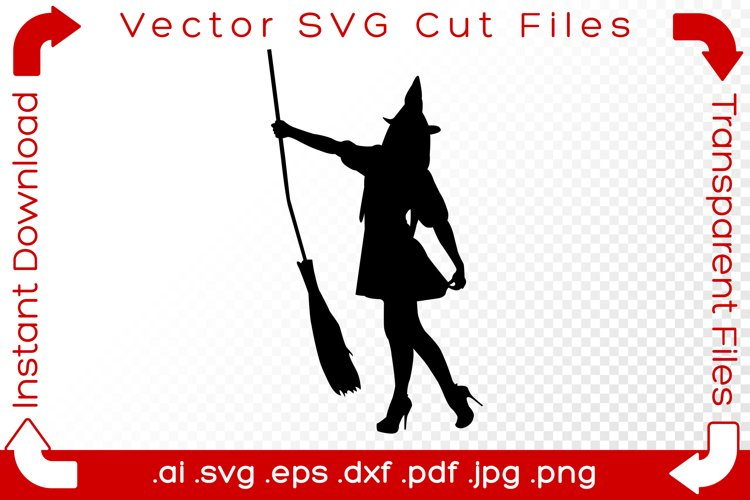 Witch SVG Black Silhouette Shape Halloween Vector Cut File example image 1