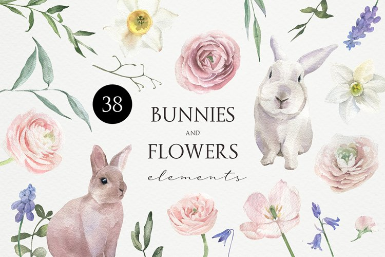 Watercolor Bunnies and Flowers