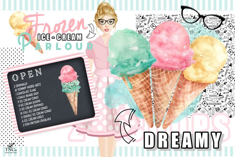 Watercolour Ice creams and Girl Graphics example image 1