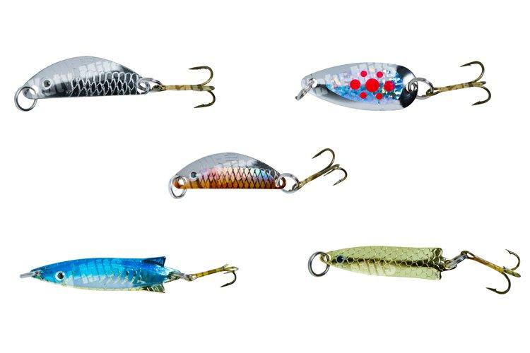 Set of 5 popper fishing bait on white background