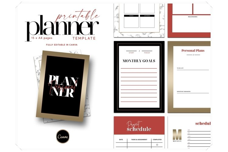Printable Planner Canva Template - Lady Boss Planner