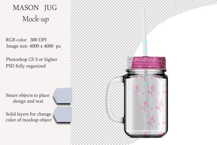 Mason jug mockup. Product place. PSD object mockup. example image 1