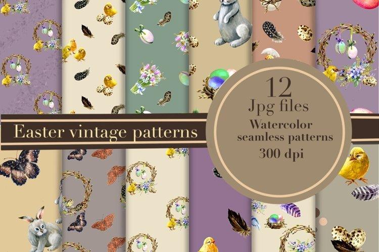 Easter digital paper pack.Vintage pattern. example image 1