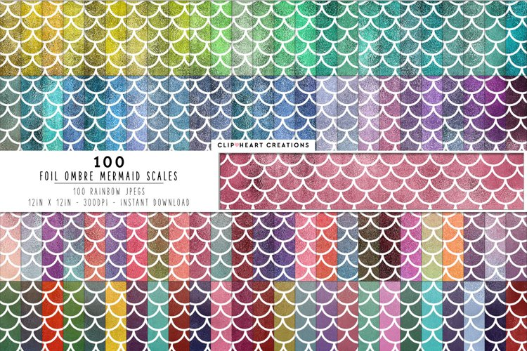 100 Foil Ombre Mermaid Scales Digital Papers example image 1