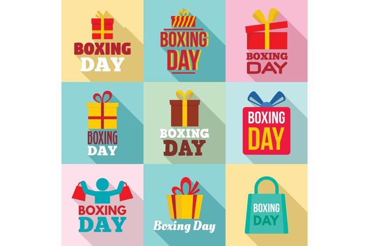 Boxing day logo set, flat style example image 1