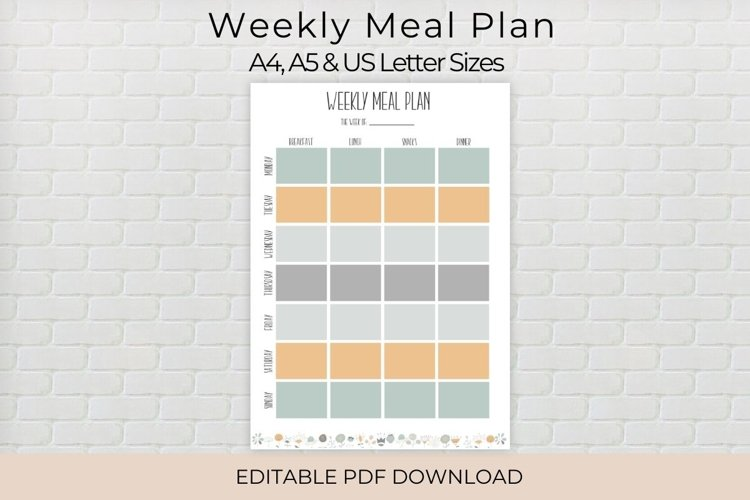 Weekly Meal Planner, Editable Meal Planner example image 1