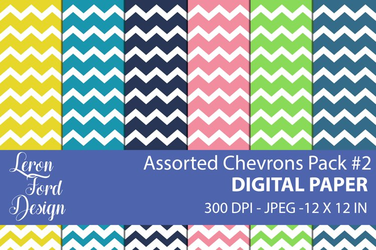 Assorted Chevrons Pack #2 Digital Paper example image 1