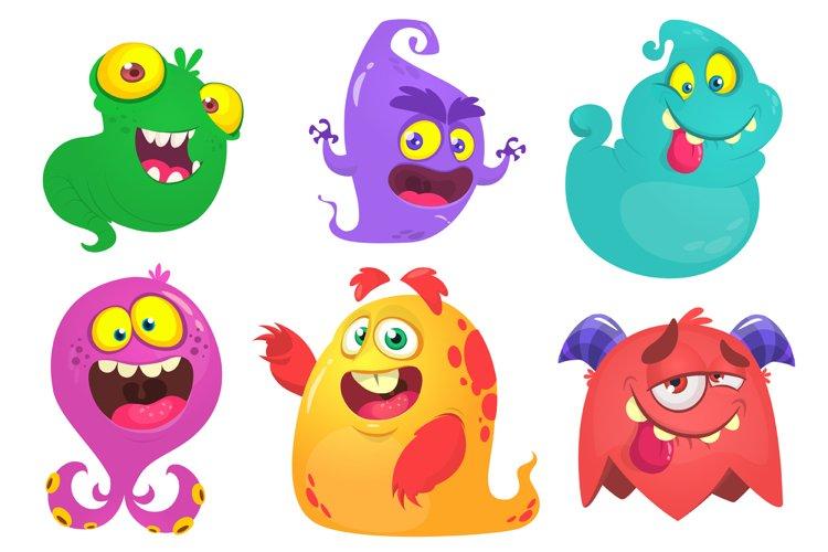 Cartoon monsters. Vector Halloween monsters pack