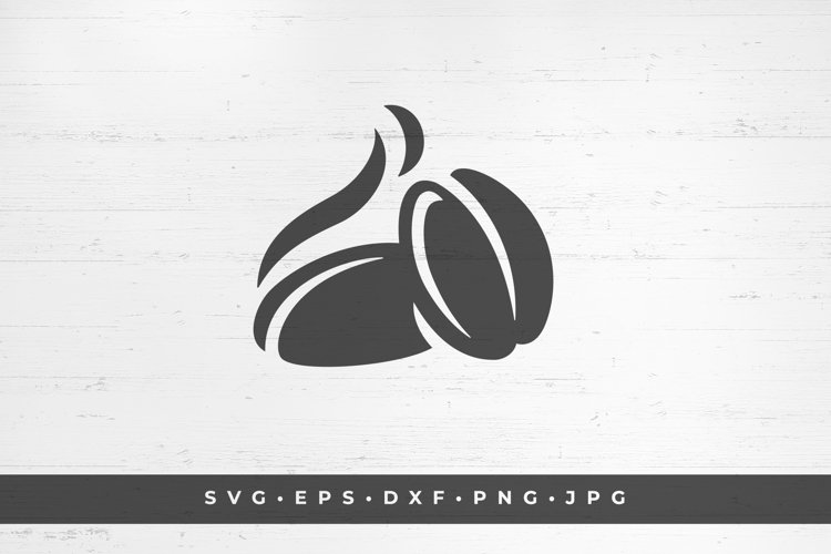 Aromatic coffee beans icon silhouette isolated on white example image 1