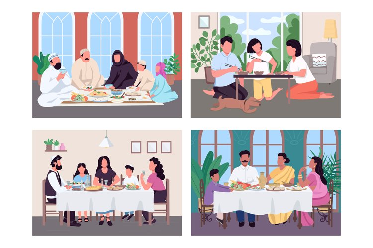 Traditional lunch for family flat color vector illustration example image 1