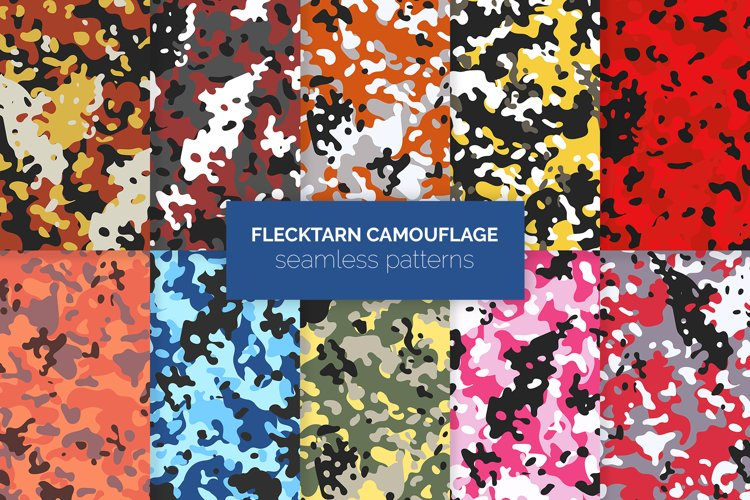 Flecktarn Camo Seamless Patterns example image 1