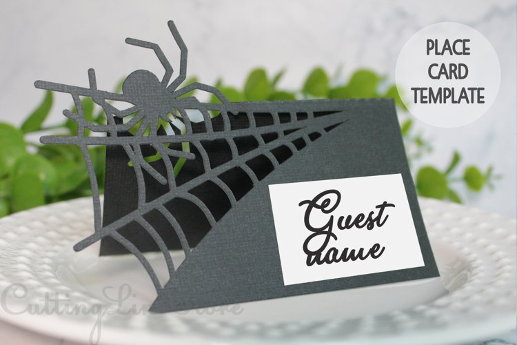 Halloween place card template, Gothic wedding place card svg