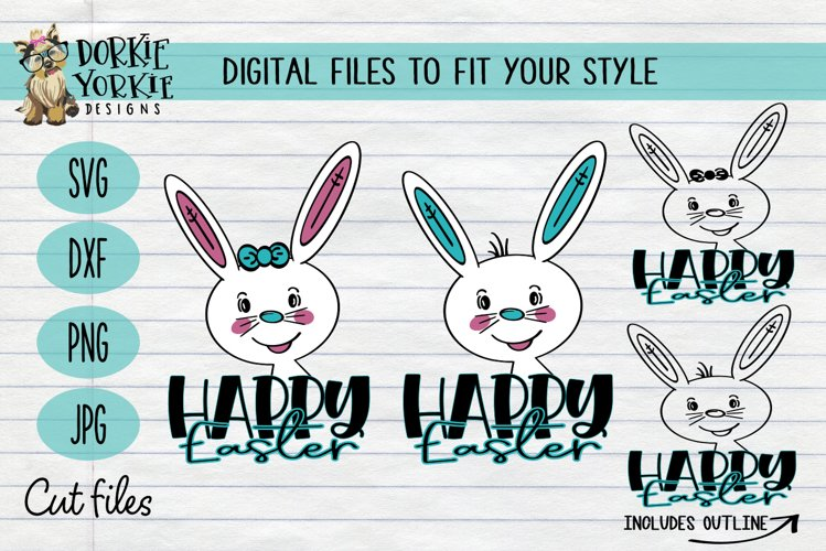 Hand-Drawn - BUNDLE - Boy, Girl Bunny, Happy Easter - SVG Cu example image 1