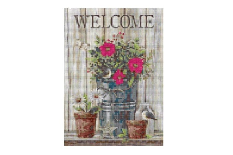 Primitive Welcome Cross Stitch Pattern example image 1
