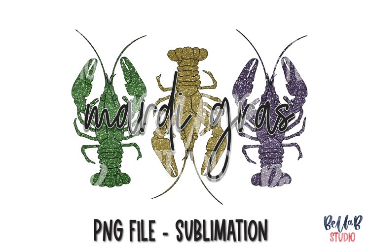 Mardi Gras Sublimation Design, Glitter Crawfish