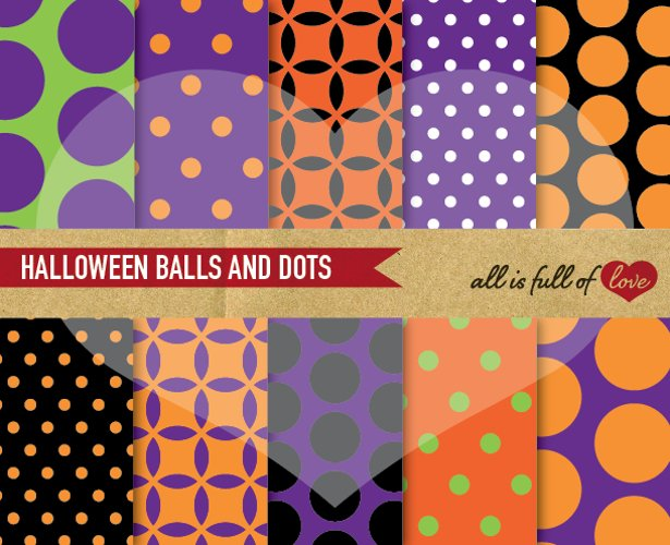 Halloween Digital Paper Polka Dots Scrapbook Background Patterns example image 1