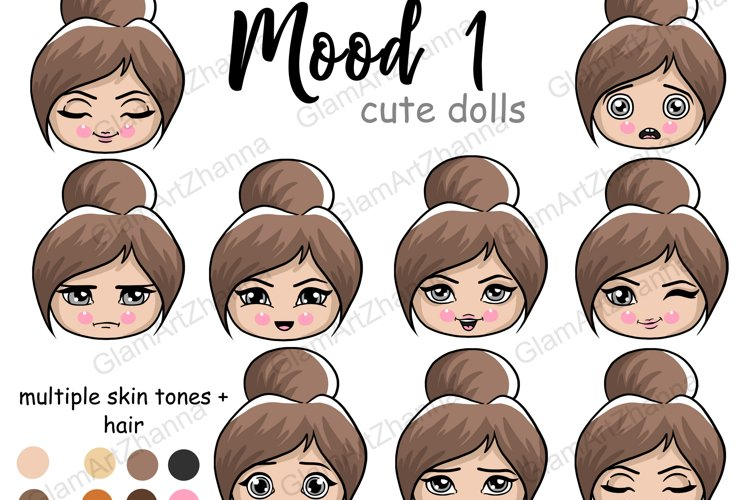 Mood 1 CUTE DOLLS Sweet Home Lady Boss Stickers PNG Files example image 1