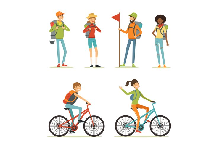 Family tourism. People hiking. Young people travelling. Cart example image 1