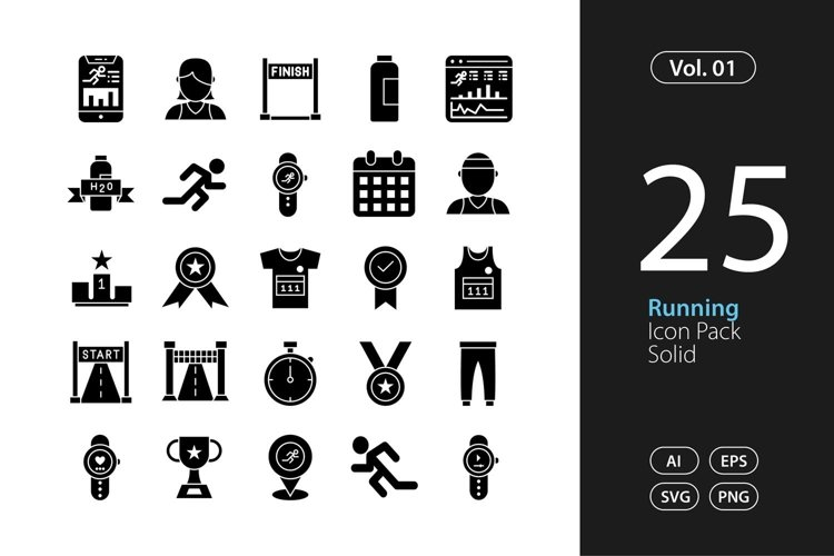 Running Icon Solid SVG, EPS, PNG example image 1