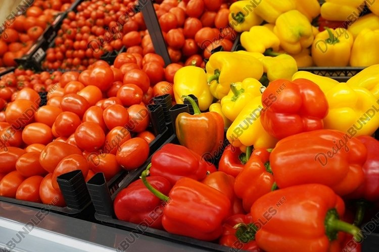 sweet bulgarian peppers at market, healthy food example image 1