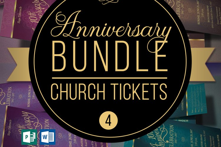 Church Anniversary Word Publisher Ticket Bundle example image 1