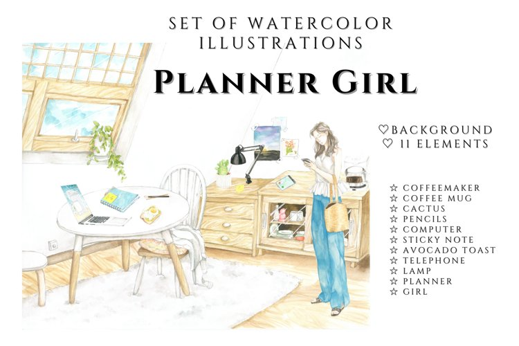Planner Girl Clipart, Crafting clipart, Crafty girl clipart example image 1