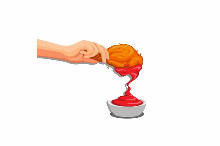 Hand put fried chicken crispy to tomato sauce vector example image 1