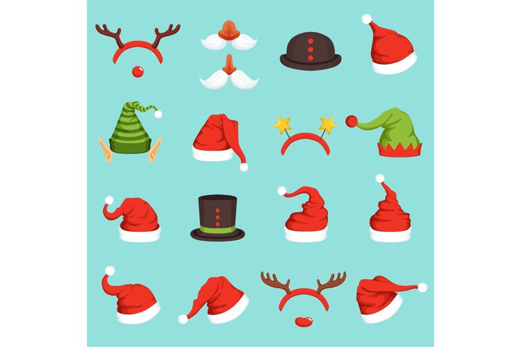 Hats of different christmas characters. Cap of santa, elf an example image 1