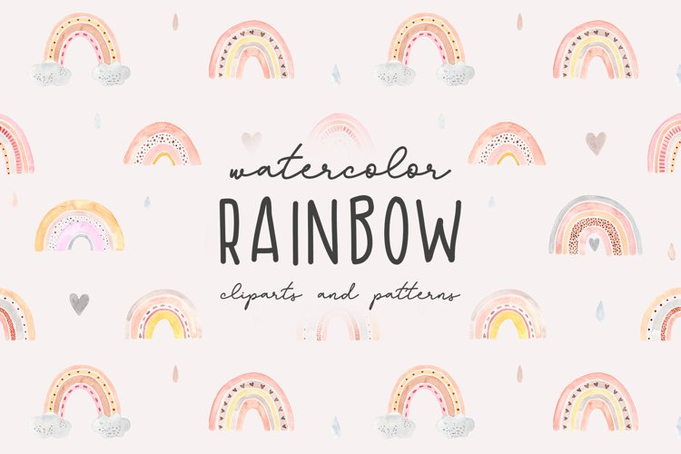 Watercolor Rainbow. Collection Patterns and Cliparts example image 1