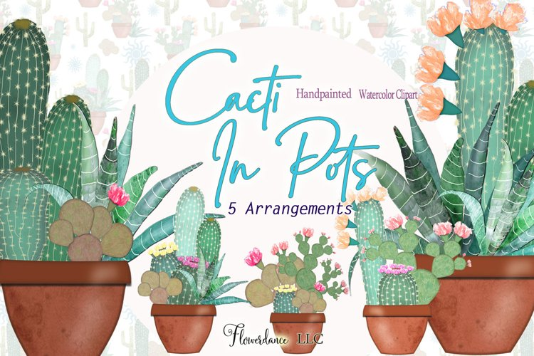 Watercolor Clipart Cactus Set in PNG example image 1