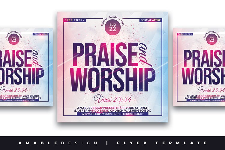 Praise and Worship Church Flyer example image 1