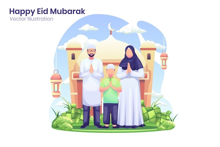 Happy Eid Mubarak greeting concept flat illustration example image 1