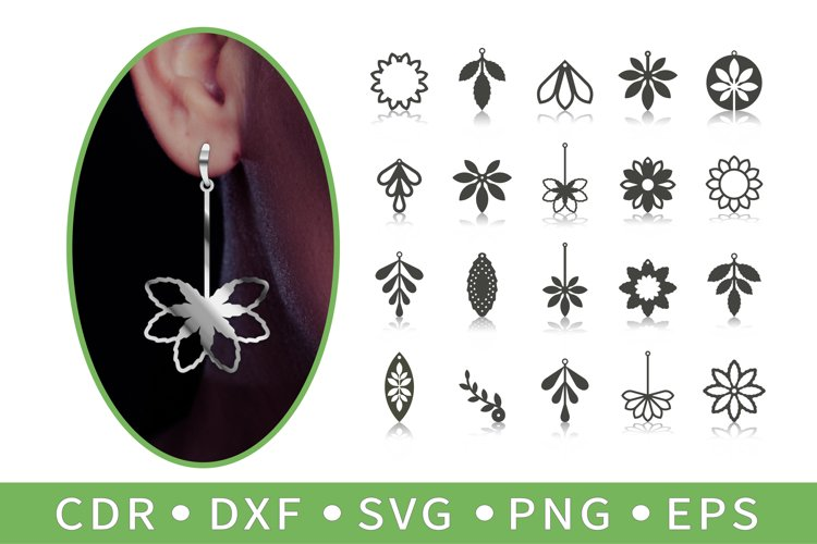 20 Botanical earrings, Lotus necklace, Sunflower SVG, Cricut example image 1