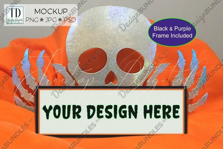 Halloween Frame Mock Up / Picture Frame Mockup PNG, JPG, PSD example image 1