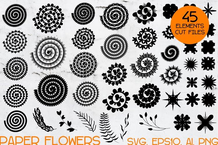 Rolled Paper Flower Templates SVG, Flower Center SVG bundle