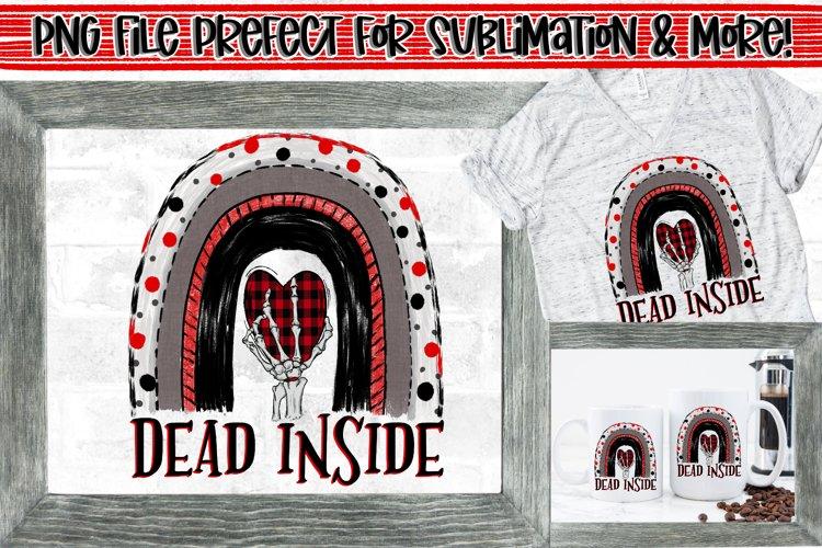 Dead inside rainbow Skeleton Hand & Plaid Heart PNG Design