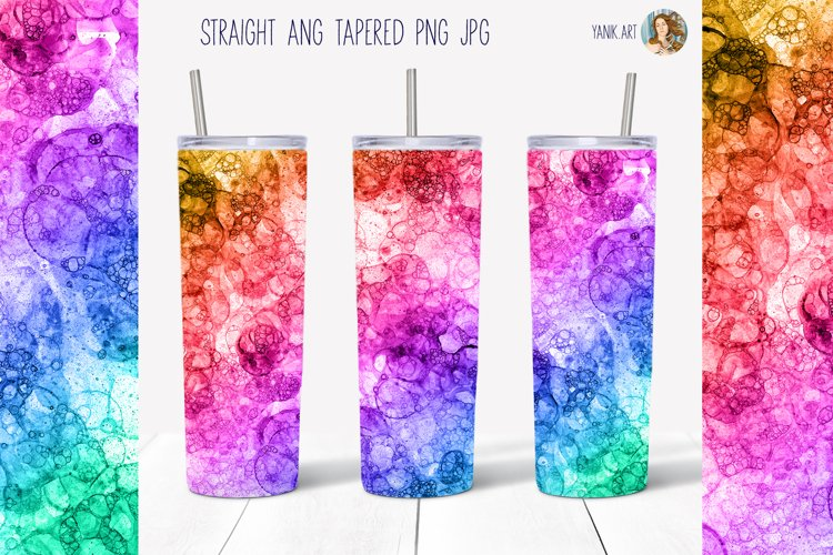 20oz Skinny Tumbler Full wrap Sublimation Rainbow bubbles