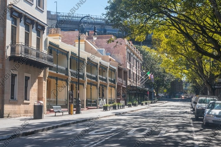 Terrace houses and stores. The Rocks. Sydney. Australia. example image 1