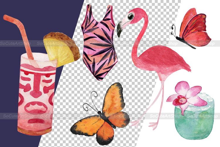 Watercolor Luau party PNG clipart, summer beach clipart example 8