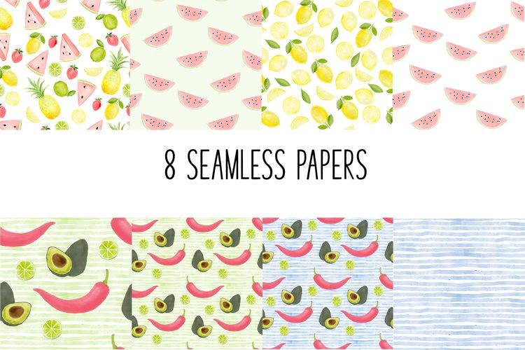 Seamless Food Patterns - Fun lemons, watermelon, peppers