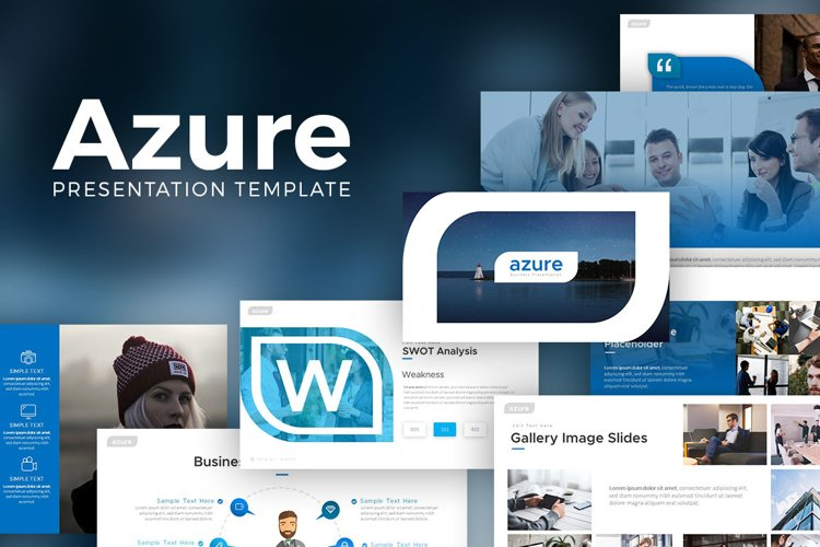 Azure Powerpoint Template example image 1